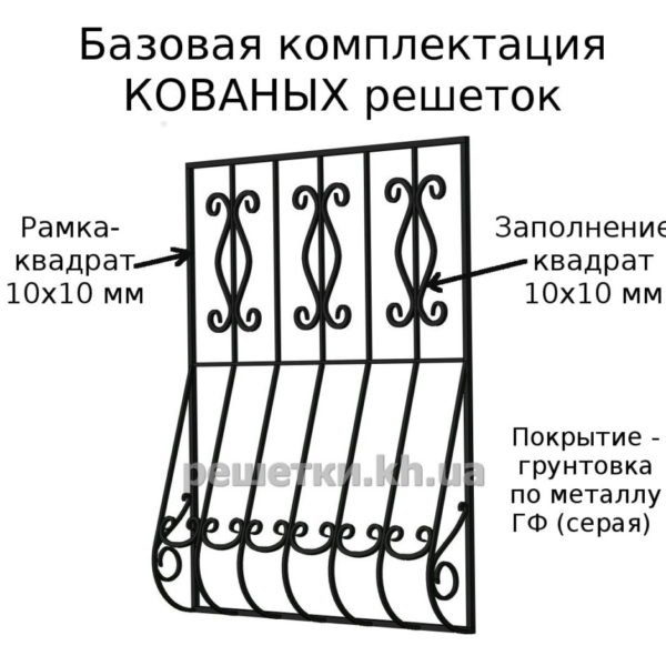 Кованая оконная решетка №535